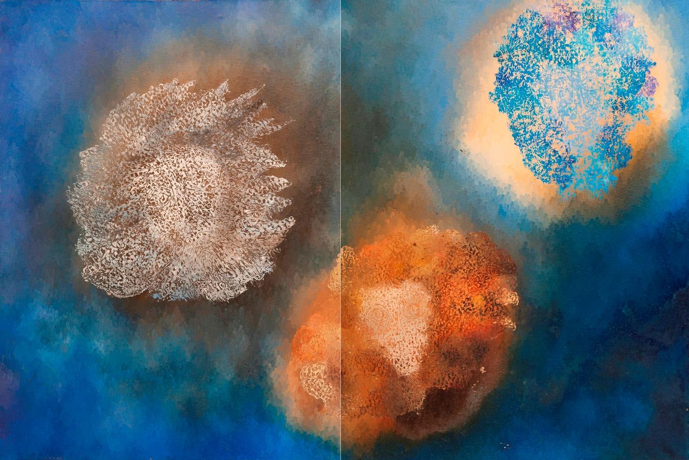 3-Saisons-Hiver-Automne-Printemps: Matrice de monotype (Huile sur toile) (1975), 200cm X 130cm