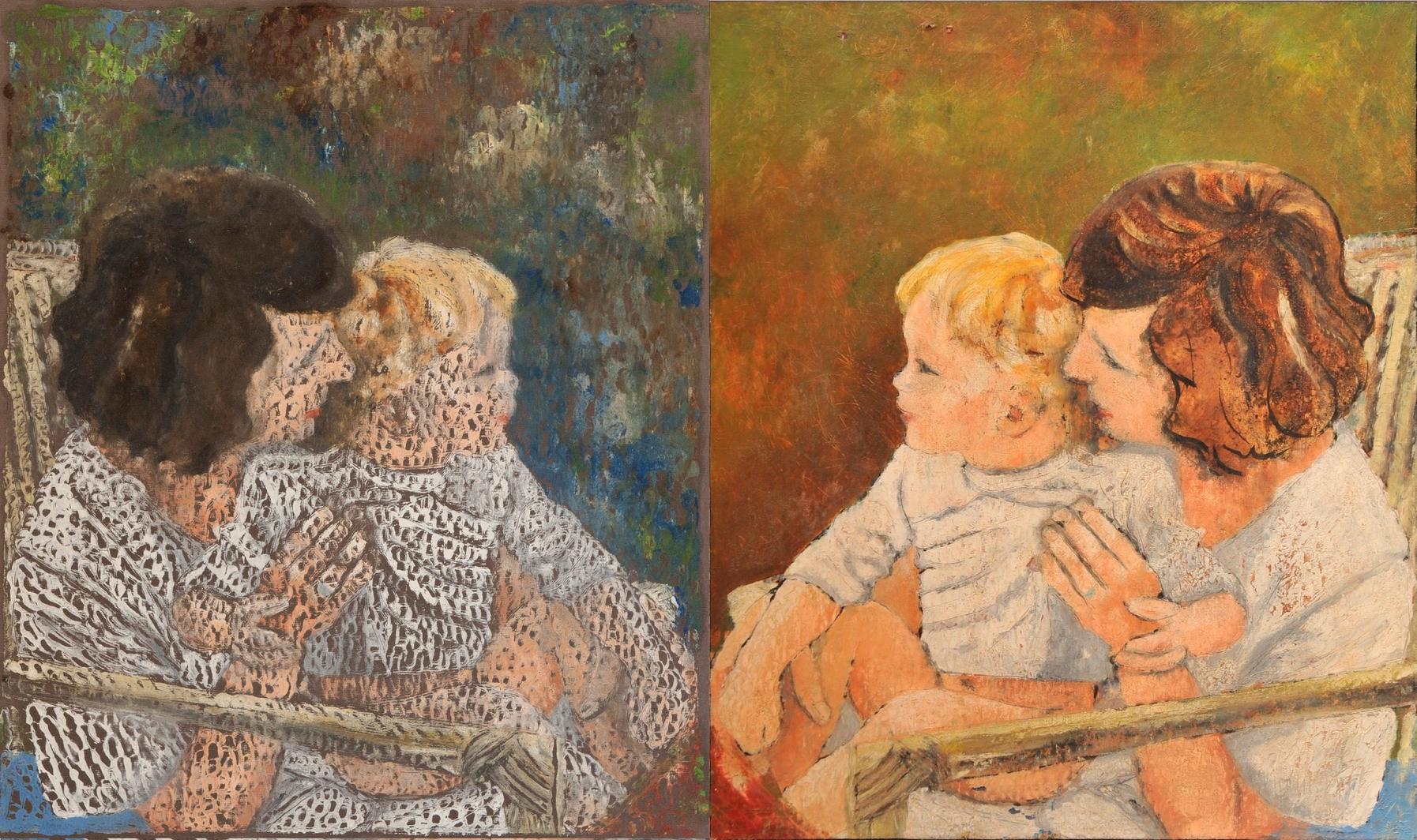 Dominique et Cédric: Monotype et matrice (huile sur toile) (1976)
