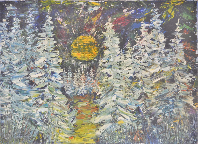 Au delà-des Sapins, Huile sur toile 75 x 55 (œuvre de jeunesse -1964)