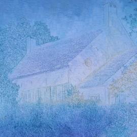 Au village de Glabais: Huile sur toile 60X50 (1978)