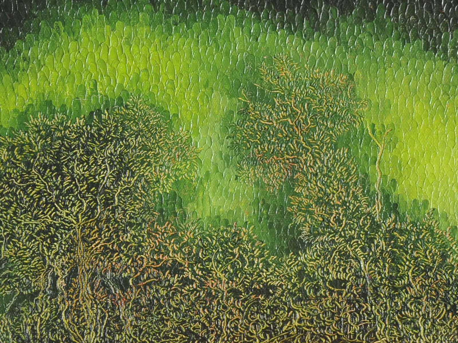 Aube verte: Huile sur toile