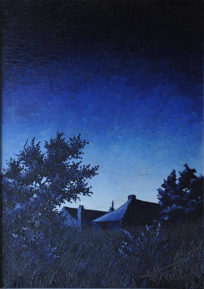 Crépuscule bleu: Huile sur toile, 95X67