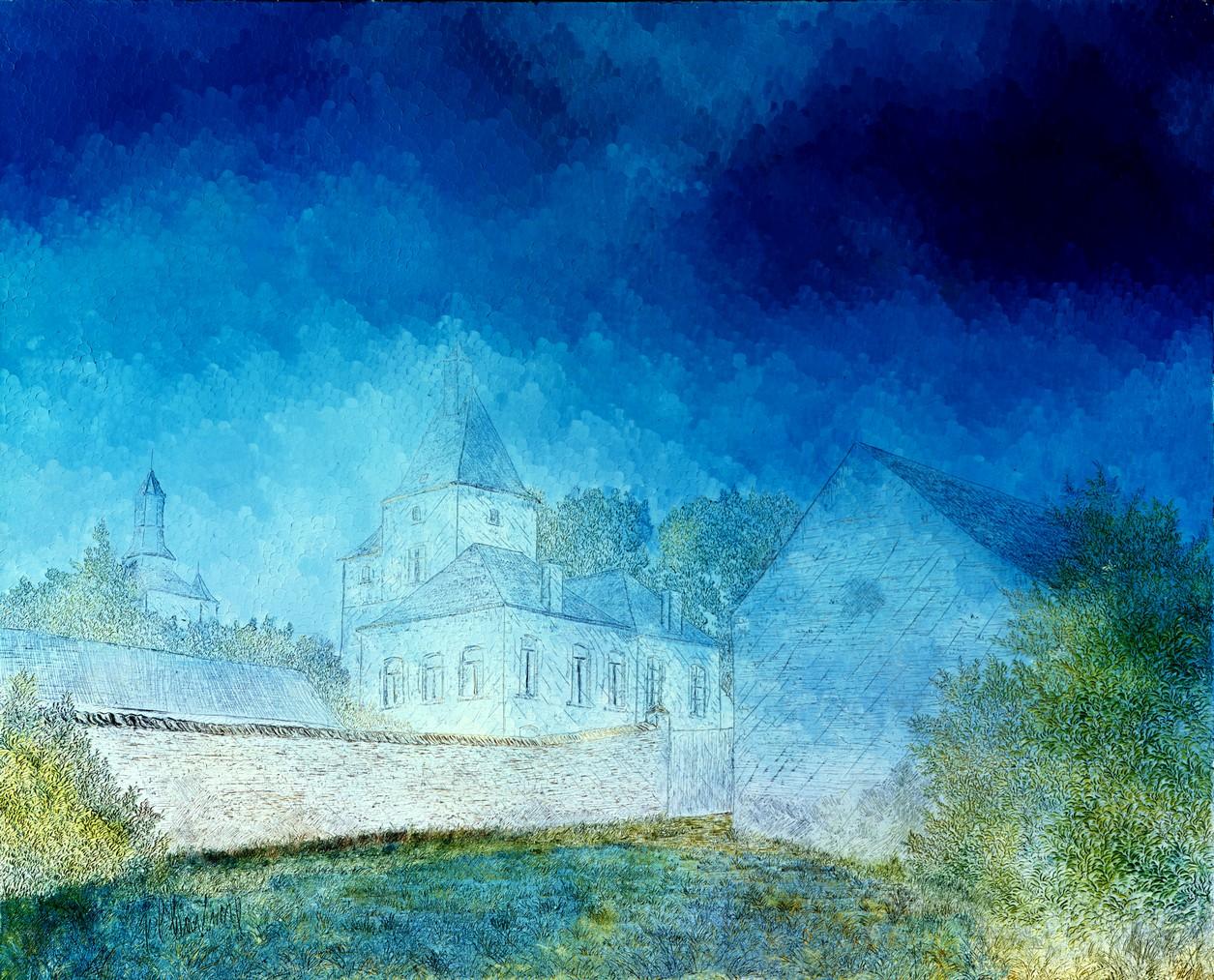 Aube_bleue, huile sur toile